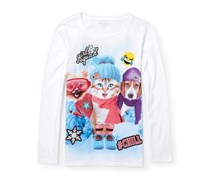 The Children's Place Big Girl's Animal Squad Graphic Tee, White