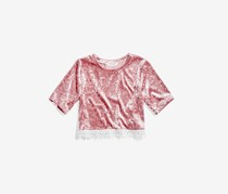 Nowadays Megan & Liz Tween Crushed Velvet Crop Top, Pink