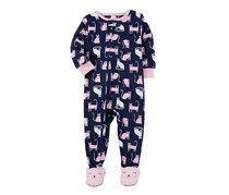Carter's Toddler's 1-Pc. Cat Print Footed Bodysuit, Pink/Navy