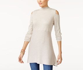 Cold-Shoulder Mock-Neck Tunic Sweater, Hammock Heather