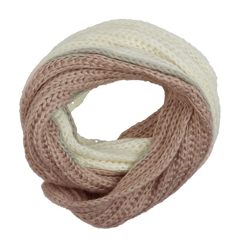 Women's Knitted Scarf, Ivory/Rose