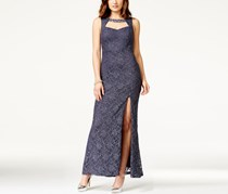 City Triangles Juniors' Cutout Glitter Lace Side-Slit Gown Dress, Steel Blue