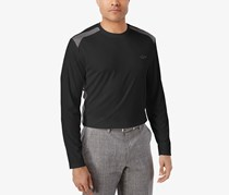 Greg Norman Mens Pieced Performance Long Sleeve, Deep Black
