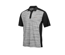 Greg Norman Mens Heathered Colorblocked Polo, Deep Black