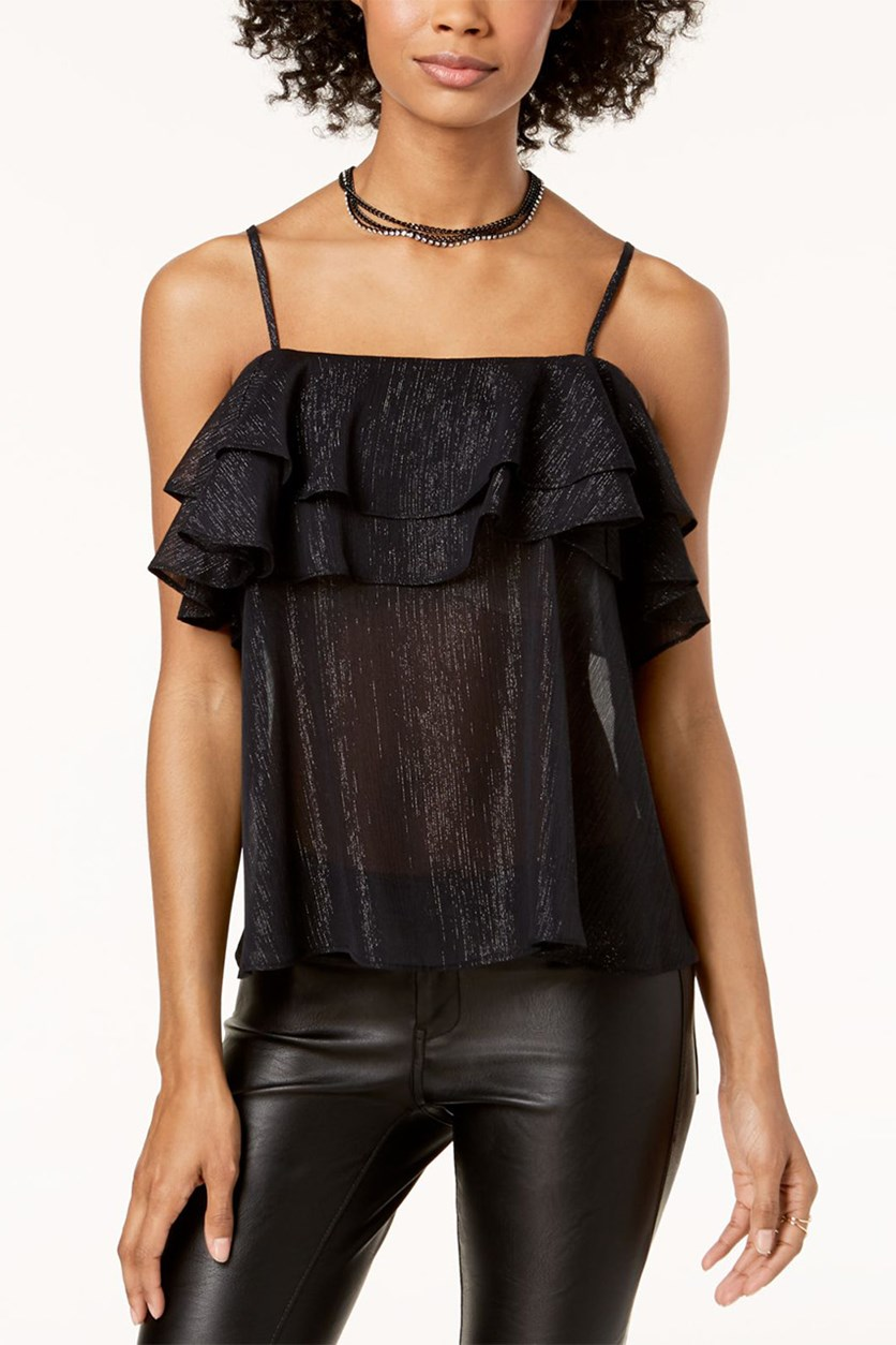 Juniors Ruffled Tank Top, Black