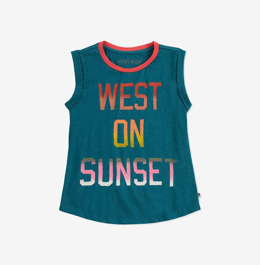 Girls 'West on Sunset' Courtney Tank, Ink Blue