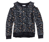 Epic Threads Cold Shoulder Galaxy-Print Sweatshirt, Deep Black