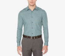 Perry Ellis Mens Space-Dyed Check Shirt, Thyme