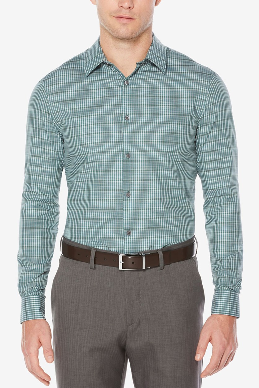 Mens Space-Dyed Check Shirt, Thyme