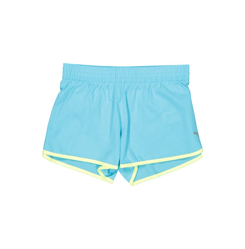 Women's Jogging Series Shorts, Sky Blue/Neon Green
