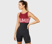 Puma Women's Logo Playsuit, Burgundy/Black
