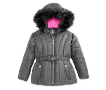 S. Rothschild Foil-Dot Belted Puffer Jacket with Faux-Fur Trim, Black