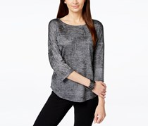 INC International Concepts Foil-Print Dolman-Sleeve Top, Gunmetal