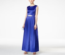 Tahari Asl Embellished Satin Gown, Dark Blue