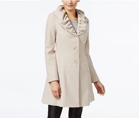 T Tahari Women's Ruffled Skirted Walker Coat, Beige