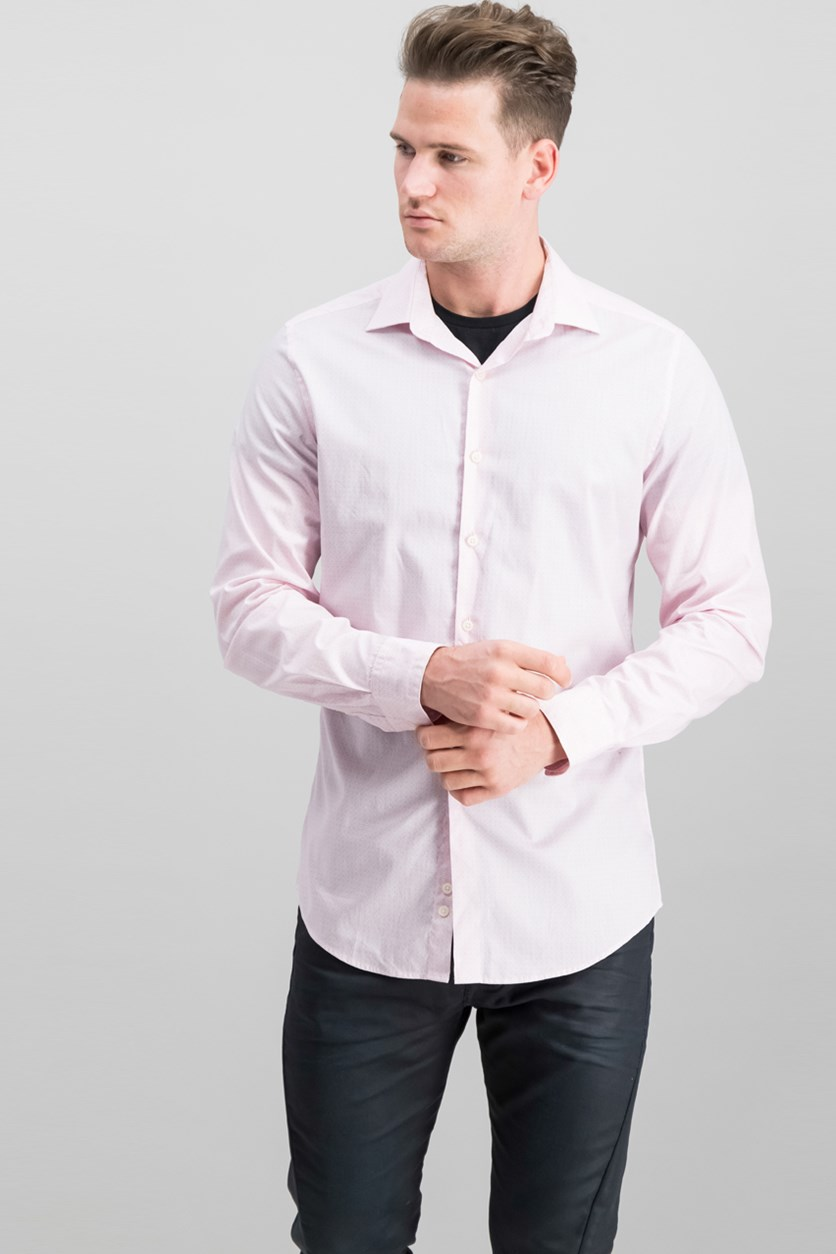 Mens Slim-Fit Stretch Dress Shirt, Pink/White