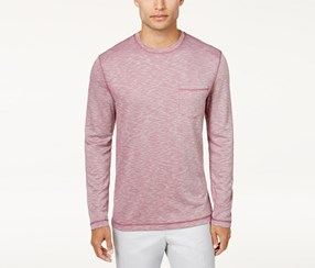 Tasso Elba Men's Long-Sleeve Top, Cherry Plum