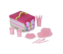Melissa & Doug Sunny Patch Cutie Pie Butterfly Picnic Set With Basket,Plates,and Utensils, Pink