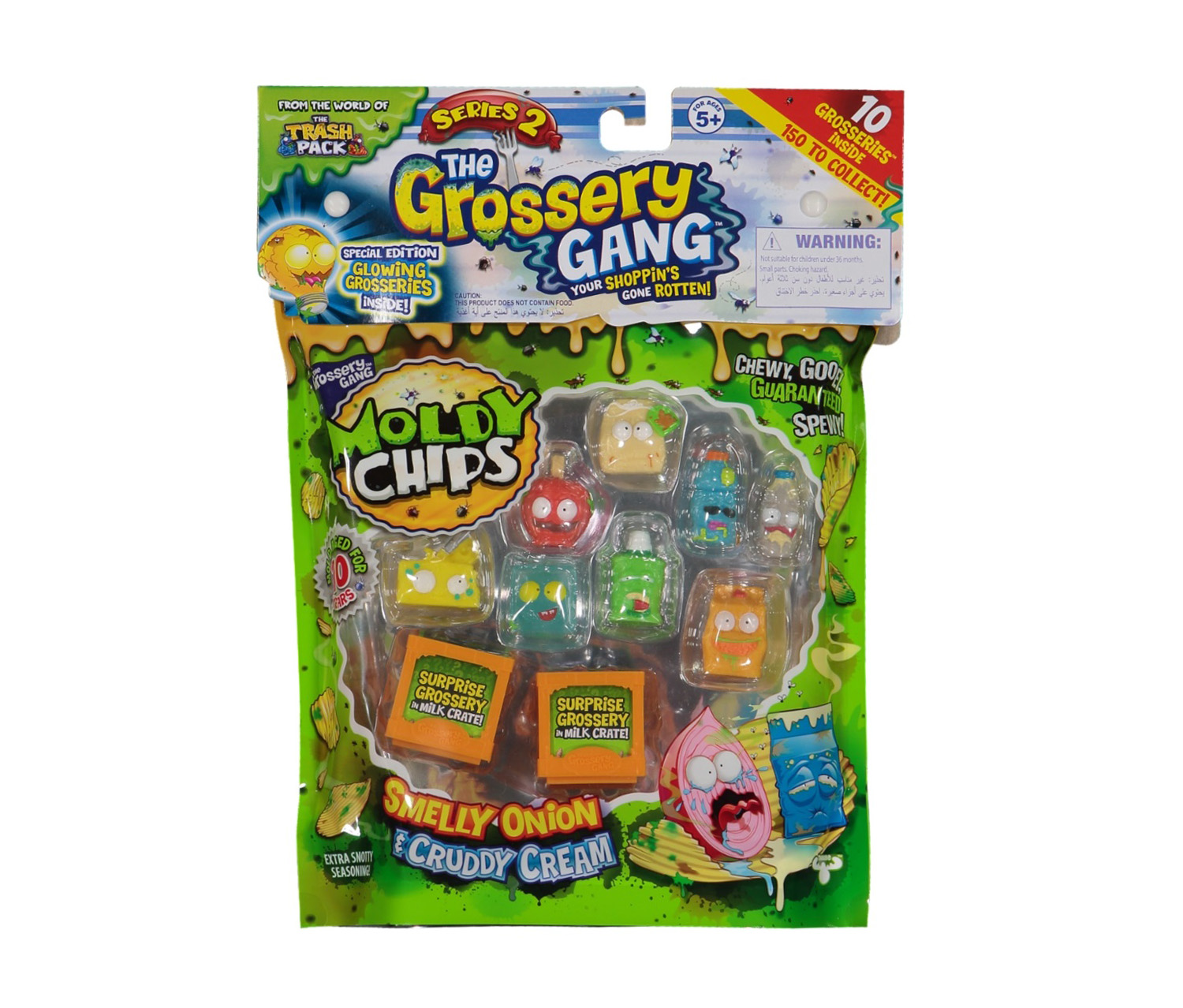 The Grossery Gang Moldy Chips Smelly Onion & Cruddy Cream Flavor 10 Pack, Series 2, Green/Orange/Yellow/Red/Blue