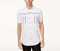 INC Mens Piped Piper Button Up Shirt, White Pure