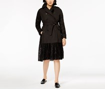 French Connection Double-Breasted Lace Trench Coat, Black