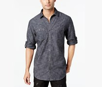 INC International Concepts Mens Chambray Dual-Pocket Shirt, Deep Black Combo