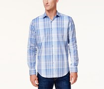 Tasso Elba Men's Campari Plaid Shirt, Blue/White