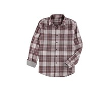 Tasso Elba Mens Plaid Hanging Button Up Shirt, Red Combo