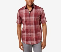 Tasso Elba Mens Bradford Check-Print Shirt, Red Combo