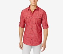 INC Mens Textured Crosshatch Shirt, Chili Pepper