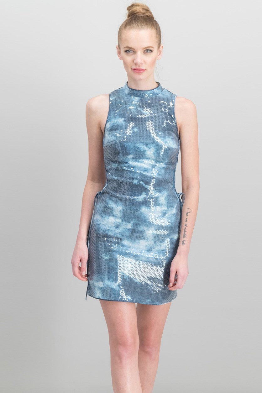 Kiella Sequin Lace-Up Dress, Tye Dye Print Blue Combo
