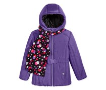 Belted Puffer Jacket with Dot-Print Scarf, Purple