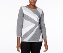 Alfred Dunner Women Colorblock Intarsia Sweater, Silver