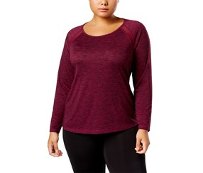 Plus Size Space-Dyed Mesh-Trim Top, Pretty Plum