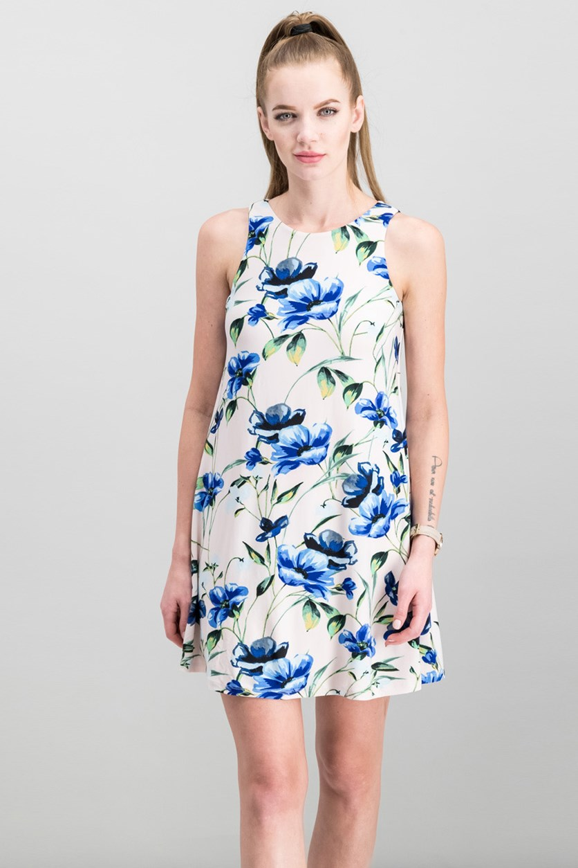 Women Floral-Print A-Line Dress, Blush/Blue