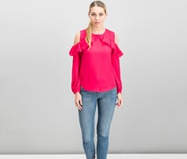 Women Petite Ruffle Cold-Shoulder Top, Pink Poppy