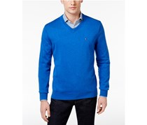 Tommy Hilfiger Men's Signature Solid V-Neck Sweater, Blue