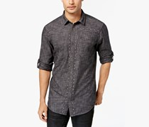 INC International Concepts Mens Studded Chambray Shirt, Deep Black