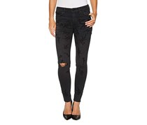 Lucky Brand Ava Skinny Flocked-Detail Jeans, Black