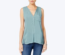 Lucky Brand Button-Neck Back-Panel Top, Silver Pine