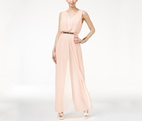 Women Chiffon-Overlay Jumpsuit, Peach Breeze