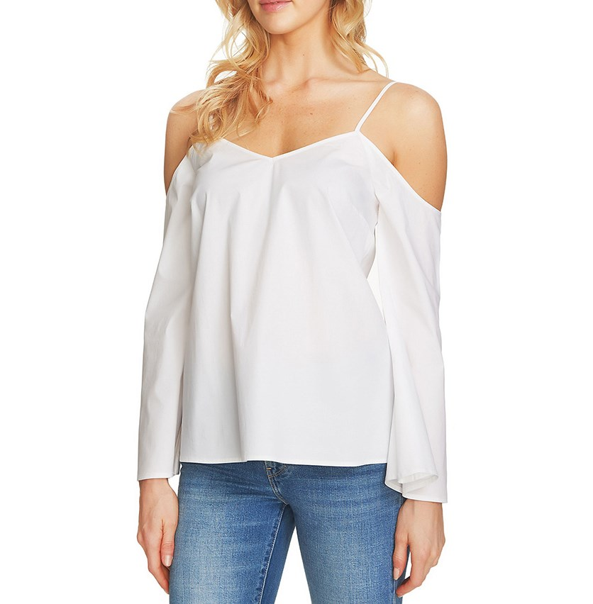 Women's 1.state Cold Shoulder Blouse, Ultra White