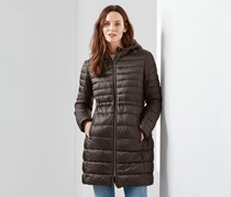 Women's Hooded Quilted Coat, Brown