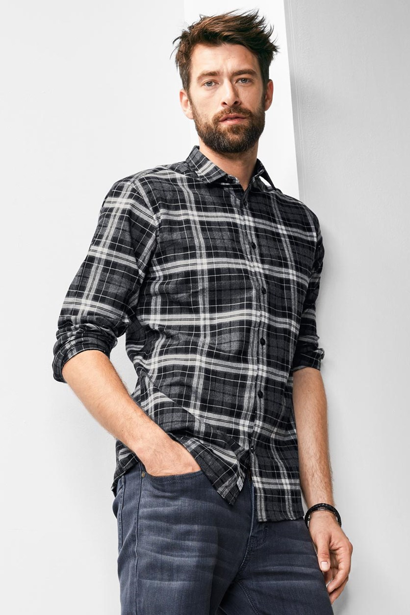Men's Flannel Shirt, Grey