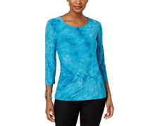 JM Collection Tie-Dyed Gel-Dot Top, Teal Glow