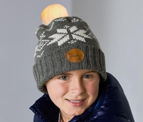 Kids Hat With Glowing Pom Pom, Gray