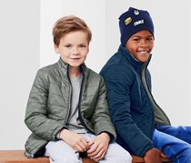 Boy's Reversible Quilted Jacket, Dark Blue/Olive