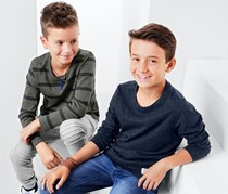 Boy's 2 Long Sleeved Tops, Olive/Navy