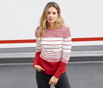 Women's Long Sleeved Top, Red/White