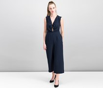 Rachel Roy Women's Cap Sleeve Keyhole Casual Jumpsuit, Navy